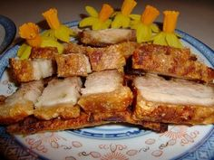 Hong kong crispy roasted pork belly (Siu Yuk) 脆皮燒肉  With this recipe, I'd sub either imitation honey or sugar free syrup. Looks more than doable, as the honey isn't actually necessary for texture.