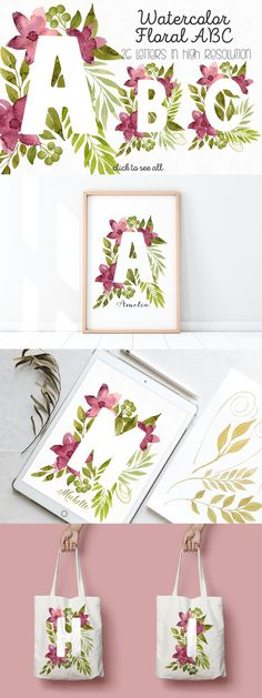 Floral Letters, White Letters, Monogram Letters, Wedding Card Templates, Png Format, Flower Backgrounds, Botanical Illustration, Red Flowers, Green Leaves