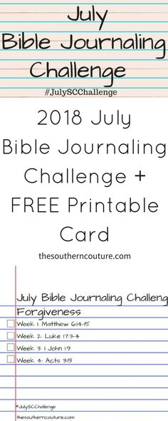 2018 july bible journaling challenge with free printable card