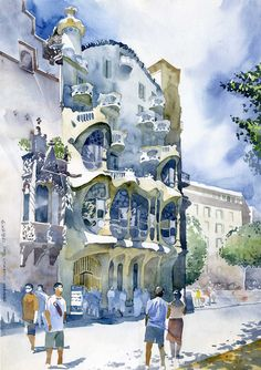 watercolor - watercolorist is Grzegorz Wróbel; this is great architecture in Barcelona by architect Antoni Gaudi Art Aquarelle, Watercolor Sketch, Watercolor Artists, Watercolor Techniques, Watercolor Illustration, Watercolor Paintings, Watercolors, Watercolor Architecture, Architecture Drawings