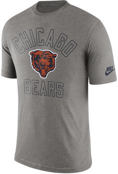 Celebrate a long legacy of greatness in this Nike NFL Retro Logo t-shirt. Rock the old-school Chicago Bears logo in this tee, a throwback to seasons past and a good luck charm for games to come. Crew neckline Short sleeves Screen print team graphics at front Screen print Nike swoosh logo at left sleeve Regular fit Tagless Polyester/cotton/rayon Machine washable