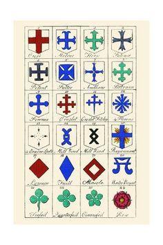 Vintage Prints, Vintage Art, Medieval Banner, Clark Art, Canvas Prints, Art Prints, Coat Of Arms, Banner Design, Vintage Images
