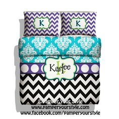 Chevron Bedding  Chevron and Damask  Purple and by PAMPERYOURSTYLE, $129.00 Purple, Turquoise and Lime Bedding www.pamperyourstyle.com