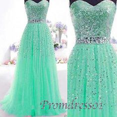 Sparkly prom dresses, green tulle princess ball gown for teens, sweetheart strapless long evening dress with rhinestones www.promdress01.c... #coniefox #2016prom