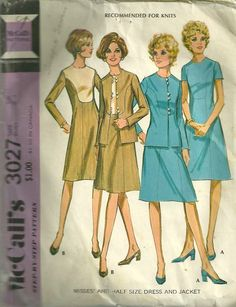 1970s McCalls 3027 Misses Mod Dress and Jacket Pattern by mbchills,womens vintage sewing pattern