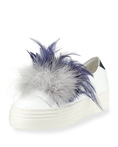 e9b0def7bde Tina Feather-Embellished Sneaker Imelda Marcos