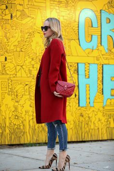 red coat with skinny jeans