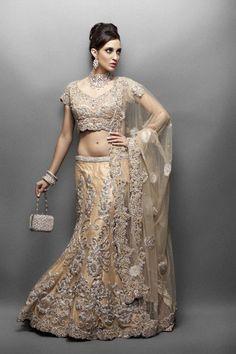 Gold & Silver crystal encrusted elegant gold color net Lehenga