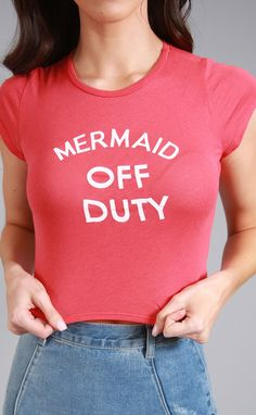 little mermaid off duty crop top