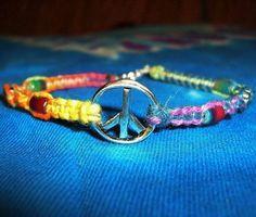 Items similar to Tie Dye Rainbow Peace Sign Hemp Bracelet - Hemp Jewelry - Peace Sign Bracelet - Rainbow Bracelet - Peace Sign Rainbow Hemp Jewelry on Etsy Hemp Jewelry, Hemp Bracelets, Unique Bracelets, Hippie Jewelry, Friendship Bracelets, Beaded Jewelry, Handmade Jewelry, Crochet Jewellery, Bohemian Jewellery