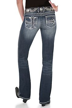 Rock 47 by Wrangler Ladies Perfect Poison Embroidered Cross Ultra Low Rise Jeans