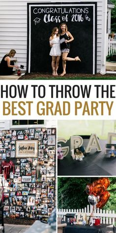 If you're graduating soon and planning on having a Graduation Party, then you NEED to see this party! Are you looking for ideas to throw a graduation party everyone will remember? This post shows you how to throw the best graduation party of the year. Graduation Party Planning, Graduation Party Themes, College Graduation Parties, Graduation Celebration, Graduation Party Decor, Graduation Photos, Grad Parties, Graduation Food, Graduation Backdrops