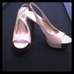 Sexy white heels! Jessica Simpson white patent leather sling backs. Platform in front and stiletto heel. Great condition. Worn once. Right heel has some wear and tear as pictured. Jessica Simpson Shoes Heels