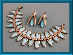 """This alluring Matisse Bracelet and Earring Demi are Copper & Blue (aqua) Enamel in the 'Nefertitti' design by Jerry Fels of California bears the Matisse signature. """"Matisse"""" was introduced by Jerry Fels of Renoir in 1952, with the lovely enamel on copper look. 