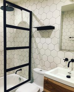 "Larebour (@larebour) on Instagram: ""Meanwhile in Fort Greene... Our Black & White bathroom is ready! Thank you @blacksquarebuilders for…"""