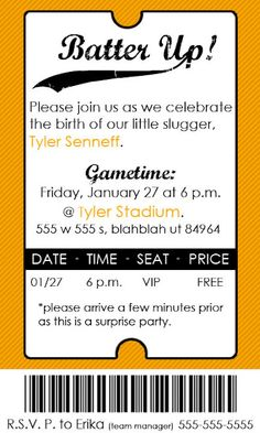 Baseball ticket invite- very clever! If I ever have a boy.... love baseball. Reds room and baby shower for sure!
