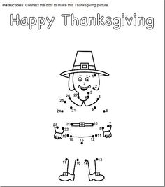 FREE Thanksgiving Connect the dots printables.  Choose count by 1's, 2's or alphabet.  Pictures include pilgrim, pumpkin, scarecrow or turkey.