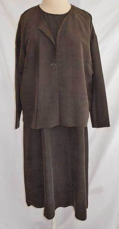 NOS Deadstock Eileen Fisher Silk Maxi Slim Shift Dress and Cropped Jacket M L #eileenfisher #dressandjacket #Casual