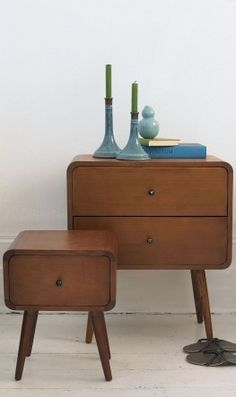 DIY inspiration for Bedside tables, I like the legs and simple look of it. Maybe remove bottom drawer and insert a lazy susan?