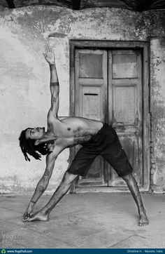 #YogaDudes for #Movember: Triangle Pose taken in Mysore, India by Christine Hewitt