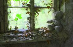 Teddy bear in a quitting house
