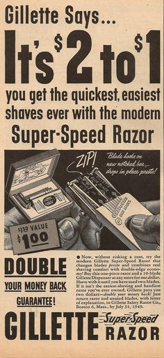 The double edge safety razor popular in the 1950s. Description from pinterest.com. I searched for this on bing.com/images Shaving Set, Wet Shaving, Vintage Advertisements, Vintage Ads, Gillette Razor, Etiquette And Manners, Clean Shaven, Safety Razor, Man Up