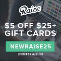 $5 off $25 Raise.com Gift Cards - One Week Only - http://therewardboss.com/2015/06/15/5-off-25-raise-com-gift-cards-one-week-only/