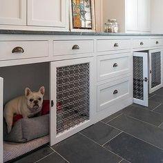 Built In Dog Crates in Mudroom