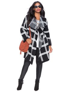 Be there or be square. Oversized Windowpane Cardigan | Women's Plus Size Tops | ELOQUII