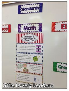 Common Core standards as magnets - makes for an easy and organized display of standards