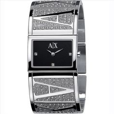Armani Exchange Womens Cuff Bracelet Watch, John Lewis on Fantasy Shopper Ax Watches, Latest Watches, Jewelry Watches, Wrist Watches, Armani Watches For Women, Armani Exchange, Swarovski Stones, Stainless Steel Bracelet, Bracelet Watch