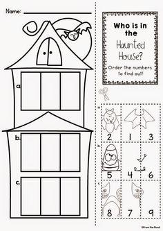 Haunted House Number Order Worksheet Freebie