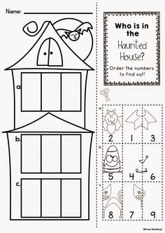 Haunted House Number Order Worksheet Freebie