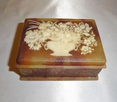 Vintage Incolay Stone Hinged Jewelry or Trinket Box