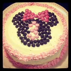 Minnie Mouse cake with chocolate chips and m & ms