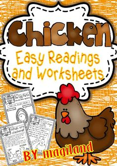 This Thematic Unit contains different sets of Printables including easy reading passages with facts about chickens :  • What are chickens? • What do chickens do? • Do you know??? Funny facts about chickens • Chicken lifecycle (egg – inside the egg – chick in egg – chick hatching – chick and chicken) one per page.  Worksheets:  • Write the chicken egg parts • Chicken life cycle – write the four basic stages according to pictures • Flip flap minibook – a chance for the kids to ...