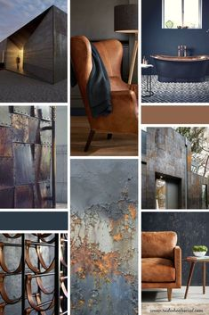 Masculine Rough Textured Mood Board with architecture leather rust metal steel copper and other industrial elements. Navy and Bronze colors. Designed by Red Wheel Social. Made for a property investment firm in Chicago as part of branding project a Blue And Copper Living Room, Copper Room, Copper And Grey, Navy Living Rooms, Copper Decor, Living Room Decor, Copper Metal, Casas Magnolia, Copper Colour Palette