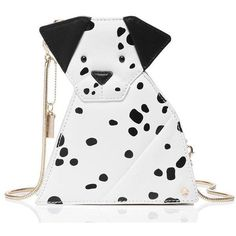 Kate Spade Rose-Colored Glasses Origami Dalmatian featuring polyvore, women's fashion, bags, handbags, clutches, white clutches, rose purse, white handbags, kate spade and rosette purse