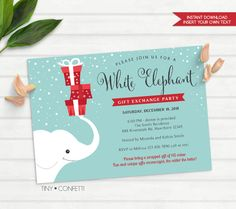 white elephant gift exchange invitation, white elephant invitation, christmas party invitation, christmas party gift exchange, secret santa by TinyConfetti