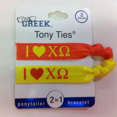 Sorority Hair Ties - Chi Omega- These are great for Big/Little gifts