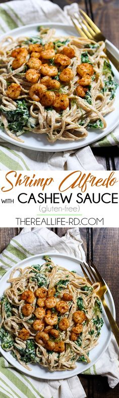 This creamy Shrimp Alfredo is made dairy-free with a delicious cashew sauce! Perfect for a fancy dinner that's actually easy. | The Real Life RD