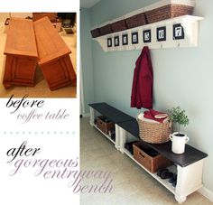 Entryway bench from coffee table