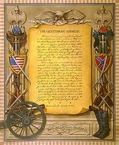 Framed and illustrated Gettysburg Address American Pride, American Civil War, American History, Gettysburg Address, Confederate States Of America, Spangled Banner, Home Of The Brave, Old Glory, God Bless America