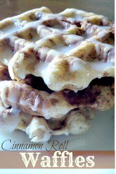 Cinnamon roll Waffles using Pillsbury Grands refrigerated cinnamon rolls with cream cheese icing!
