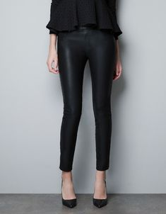 LEATHER-EFFECT JEGGING - Trousers - Woman - ZARA United States