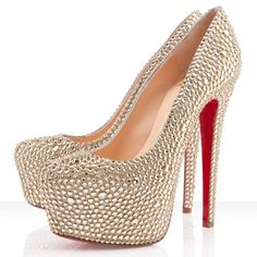 #SexyStyle Christian Louboutin Daffodile Strass 160mm Platforms Gold CGA