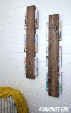 Super cheap and easy wood magazine rack.