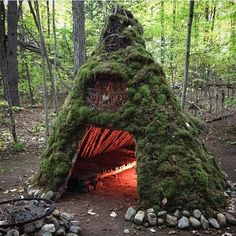 #Repost @globaloutdoorsurvivalclub A huge moss shelter with a feel of a cave and built-in fireplace. What will you call it? #globaloutdoorsurvivalclub Follow us: @globaloutdoorsurvivalclub It started some time ago @drake_tattoos did most of the heavy lifting collecting logs branches sticks and vines. He began thatching and weaving and the initial wikiup structure was complete. We later began gathering large sections of moss from down trees and slowly like patchwork layering moss all over the