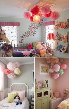Hang some paper pom poms or lanterns to light up a toddler room | Top 24 Fascinating Hanging Decorations That Will Light Up Your Living Space