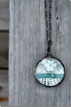 Lace Pendant Statement Necklace Teal and White by BayouGlassArts